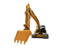 Digger. Orange dirty digger isolated on white background stock photography