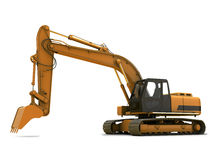 Digger. Orange dirty digger isolated on white background stock photos