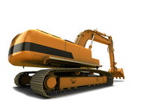 Digger. Orange dirty digger isolated on white background royalty free stock image