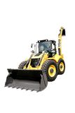 Digger. New yellow digger on a white background royalty free stock images