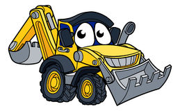 Digger Bulldozer Cartoon Character illustration libre de droits