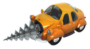 Digger Car. Cartoon car with a drill mechanism in front, 3d Royalty Free Stock Photo
