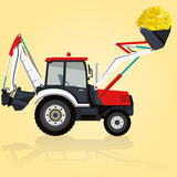 Digger with coins Stock Photo
