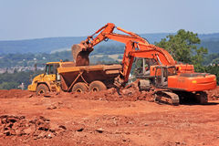 Digger and Dump Truck Royalty Free Stock Photo