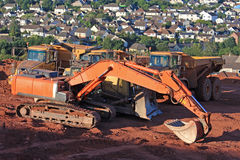 Digger and Dump Trucks Stock Image