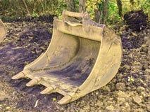 Digger excavator bucket bulldozer. Crawler excavator shovel. stock photo