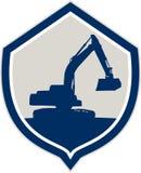 Digger Excavator Shield Retro mecânico ilustração do vetor