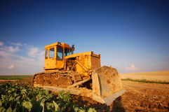 Digger on the field Royalty Free Stock Photos