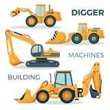 Digger and machines for building isolated cartoon illustration. Digger and machines for building with huge ladles on big round and caterpillar wheels isolated Stock Photo