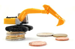 Digger an money Stock Image