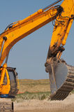 Digger portrait. Closeup shot of earth moving/digger. Portrait view stock photos
