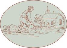 Digger Shovel Oval Drawing grave médiéval illustration libre de droits