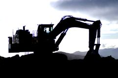 Digger silhouette Royalty Free Stock Images