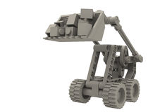 Digger. Small modular digger renderd in greyscale Stock Images