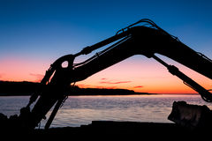 Digger Sunset Arm Stock Photos