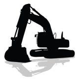 Digger work machine black silhouette Stock Image