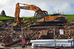 Digger at work Swanage stabilisation works Stock Photography