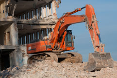 Digger working during the demolition Royalty Free Stock Image