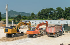 Free Diggers And Truck In Contruction Site Royalty Free Stock Image - 88004986