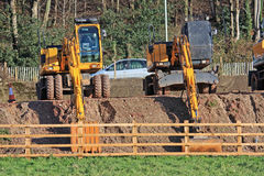Diggers. On a construction site Royalty Free Stock Images