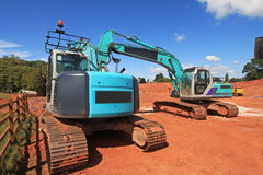 Diggers. On a construction site Stock Photo