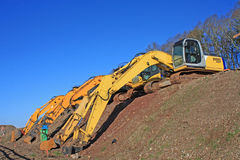 Diggers. On a construction site Royalty Free Stock Photos