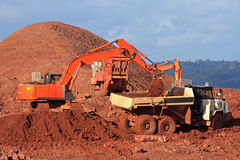 Diggers and Dump Truck. Diggers on a construction site Royalty Free Stock Photos