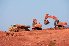 Diggers and Dump Truck Royalty Free Stock Photos