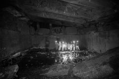 Diggers in the dungeon peoples udnerground journey. Cave dark Royalty Free Stock Photo