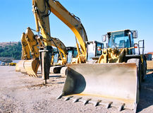 Diggers at parking. Architecture Machinery royalty free stock photography