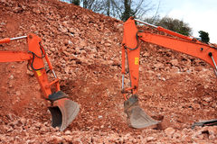 Diggers. On a road construction site Stock Photography