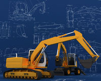 Diggers and sketch Royalty Free Stock Image