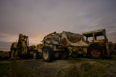Diggers under the moon Royalty Free Stock Photos