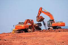 Diggers. Working on a construction site Stock Image