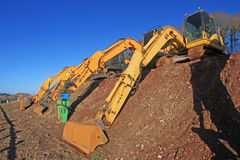 Diggers. Working on a construction site Royalty Free Stock Photo