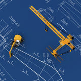 Diggers and yellow crane with sketch. 3d render Diggers and yellow crane with sketch Stock Photos