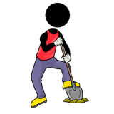 Digging. Silhouette-man digging a hole with a spade Royalty Free Stock Images