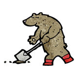 Digging bear cartoon Stock Photography