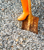 digging hard stone Royalty Free Stock Image