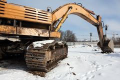 Digging machine. Earth digging construction machine scoop equipment royalty free stock images