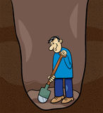 Digging man cartoon illustration Royalty Free Stock Photo