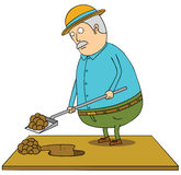 Digging old fat man Royalty Free Stock Photo