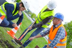 Digging at side street. Digging at the side of the street Stock Photography