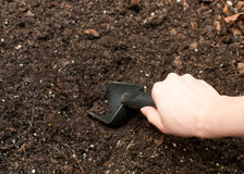 Digging soil with gardening tool Royalty Free Stock Photo