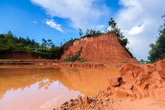 Digging soil horizon area with reflection of tree and hill in or Stock Image