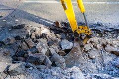 Digging street city. Working Excavator Tractor Digging street city stock photo
