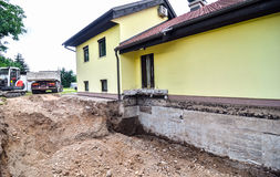 Digging up house foundation - basement. A big family house is being rebuilt with the help of an excavator. Digging the brick foundation for hydro isolation of Stock Photo