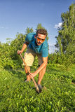 Digging a vegetable garden Royalty Free Stock Images