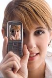 Digicam with cellphone Royalty Free Stock Images