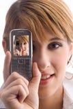 Digicam con el teléfono celular Imágenes de archivo libres de regalías